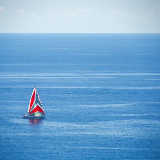 """Luxury yacht sailing in Mediterranean Sea near French Riviera, M"" stock image"