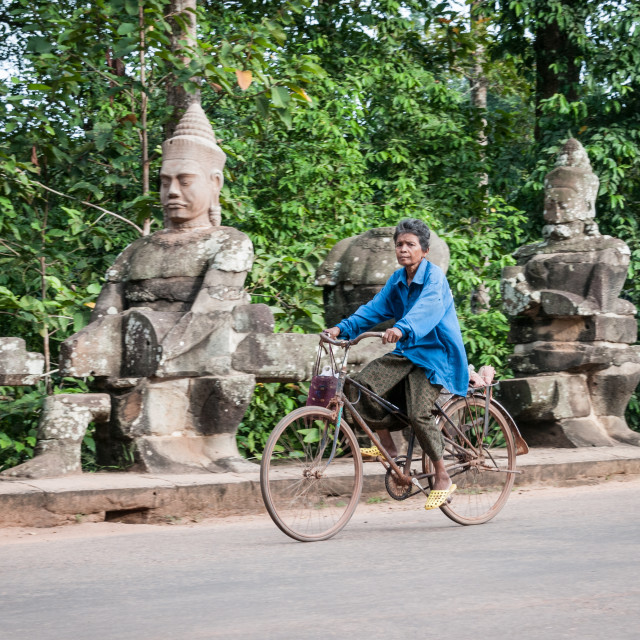 """""""Lady on bike"""" stock image"""