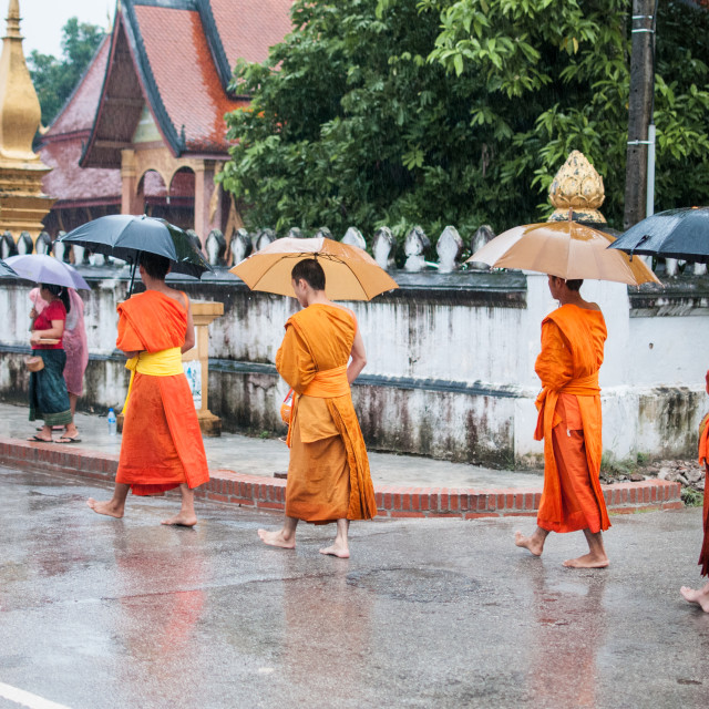"""Three Monks with Umbrellas"" stock image"