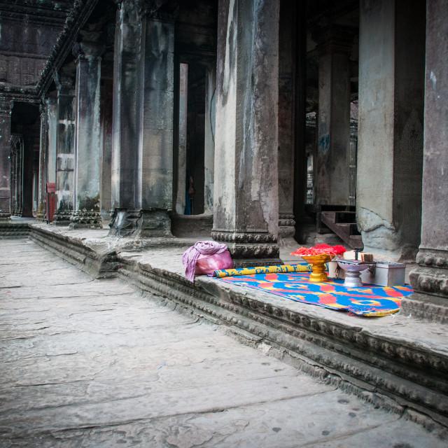 """Inside Angkor Wat"" stock image"
