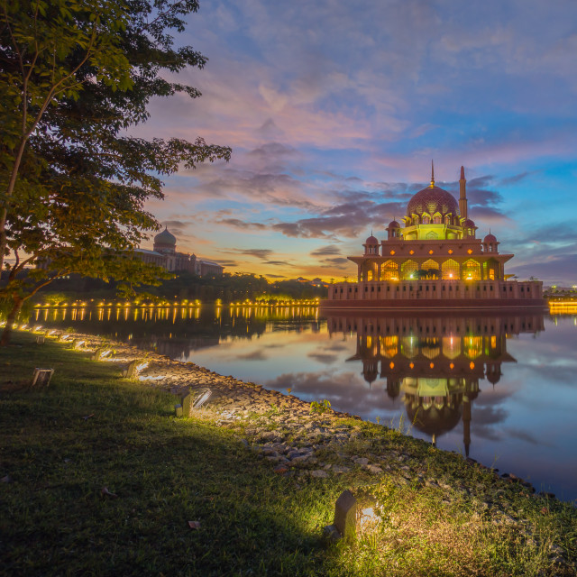 """Majestic Sunrise at Putra Mosque, Putrajaya Malaysia"" stock image"