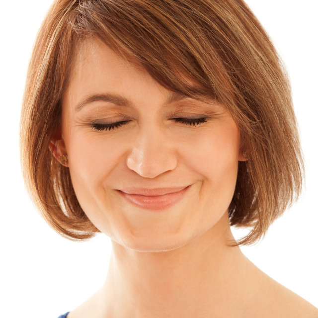 """""""Close-up of adult woman with eyes closed"""" stock image"""