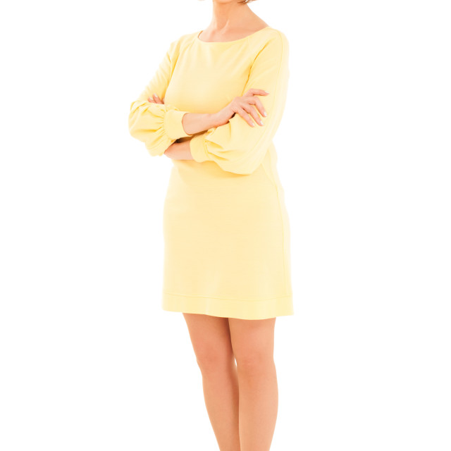 """""""Portrait of attractive adult woman in yellow dress"""" stock image"""