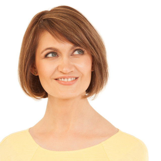 """""""Elegant adult woman looking up and smiling"""" stock image"""