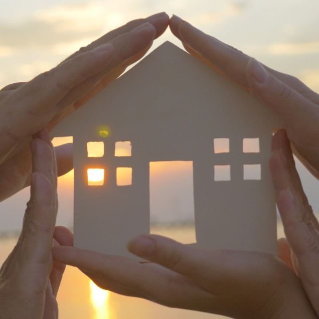 """""""Hands on cut out house diagram"""" stock image"""