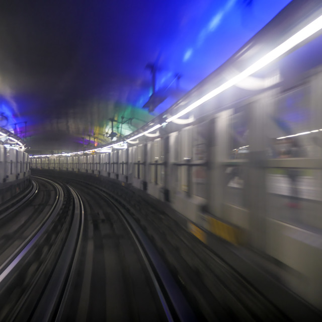 """""""View from window in Paris subway"""" stock image"""
