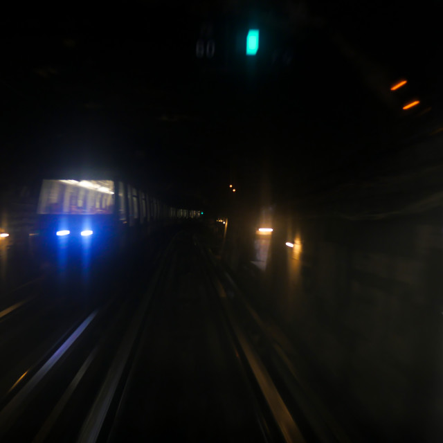 """Paris metro subway train action"" stock image"