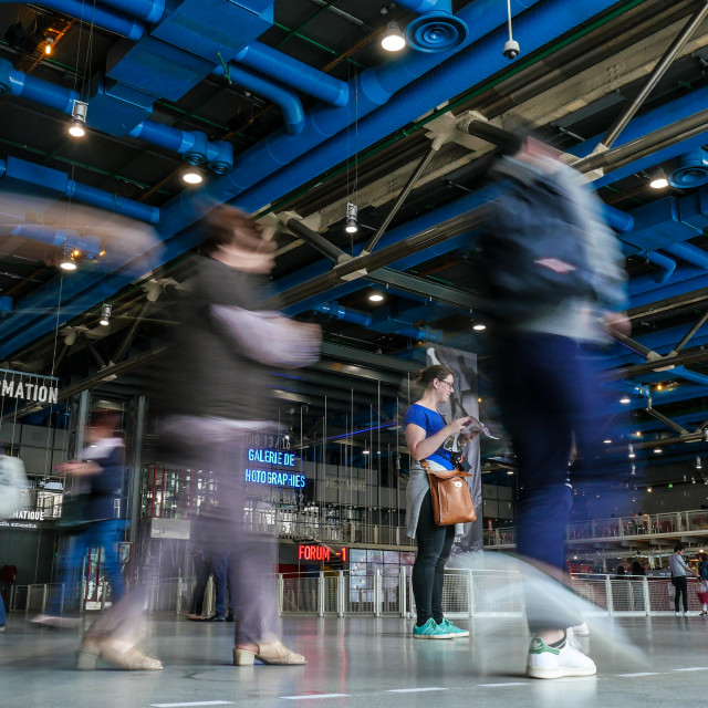 """""""People walking through the Georges Pompidou Centre"""" stock image"""