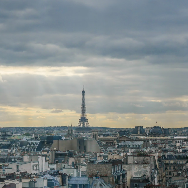 """""""Eiffel tower at horizon in France"""" stock image"""