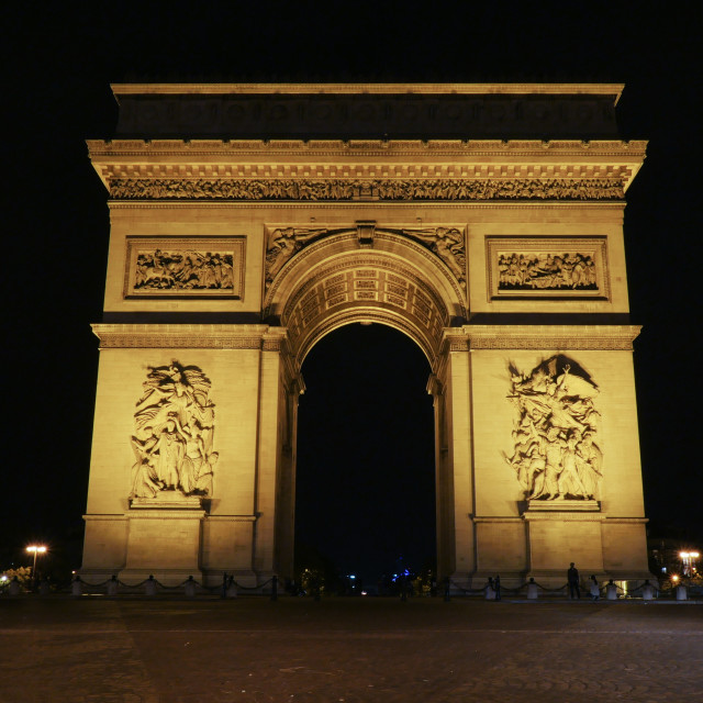 """""""Famous Champs-Elysees arch at night"""" stock image"""