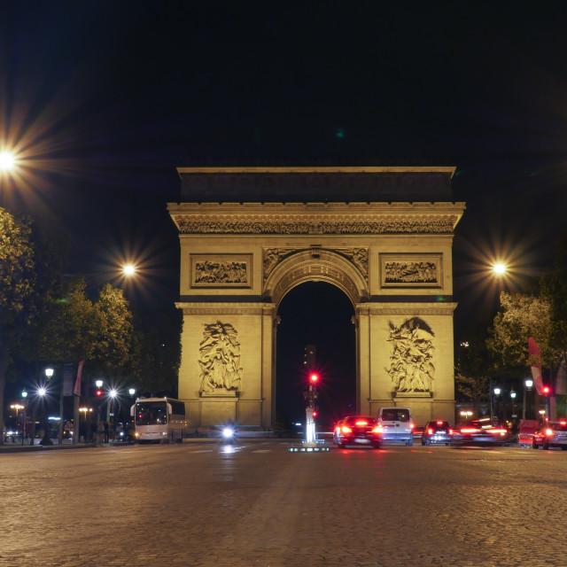 """""""Arc de Triomphe, Paris illuminated at night"""" stock image"""