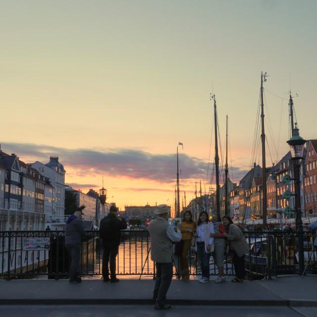 """Copenhagen harbor at sunset"" stock image"