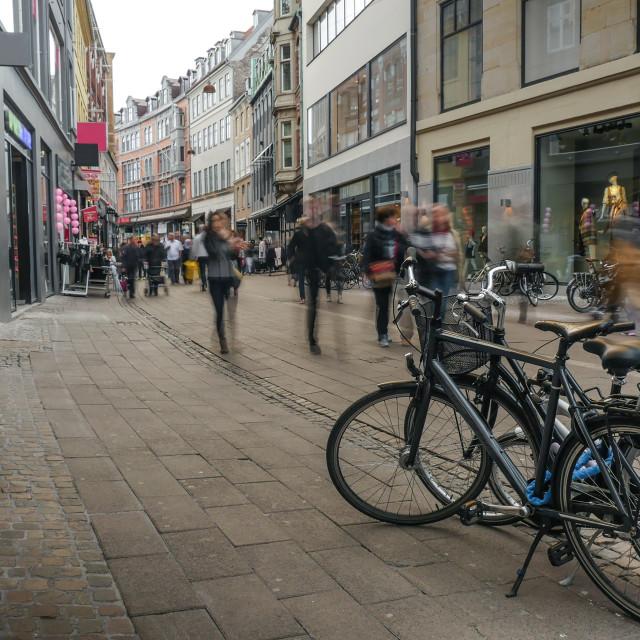 """Child walks along street in Copenhagen"" stock image"