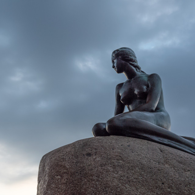 """""""Low angle view of Little Mermaid statue in Denmark"""" stock image"""