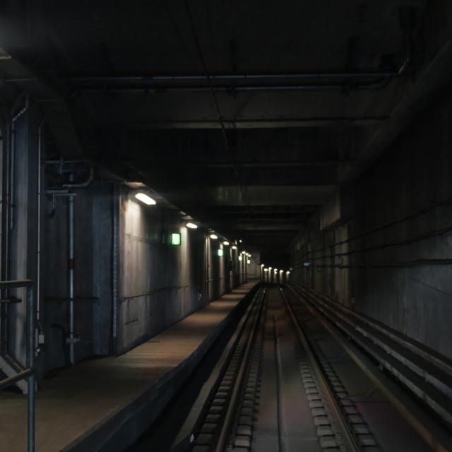 """View on subway rails"" stock image"