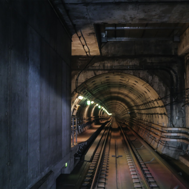 """Metropolitan tube in lamps light"" stock image"