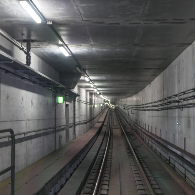 """""""Subway rails in tunnel"""" stock image"""