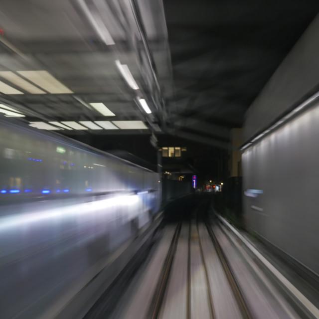 """Train's motion in metropolitan tunnel"" stock image"