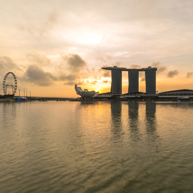 """Silhouette Marina Bay during sunrise"" stock image"