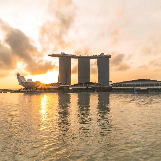 """""""Sunburst at Marina Bay Singapore"""" stock image"""