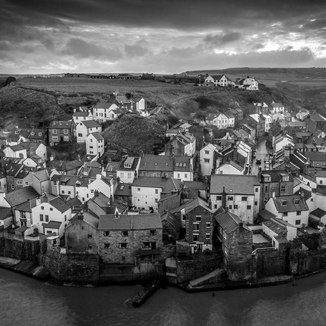 """Staithes at Dusk"" stock image"