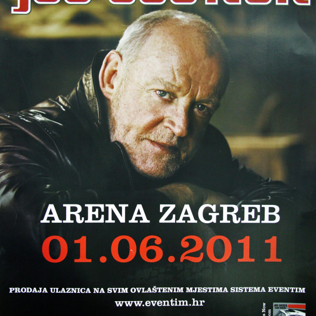 """Poster, advertisement for Joe Cocker's concert, Zagreb 2011."" stock image"