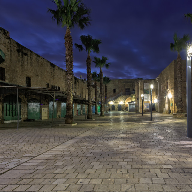 """""""Streets of ancient city of Akko at night"""" stock image"""
