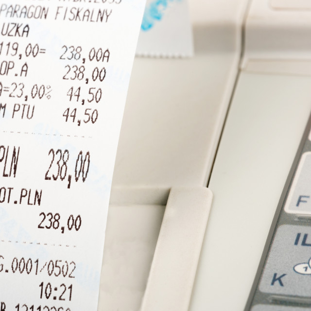 """Cash register with cash register receipt"" stock image"