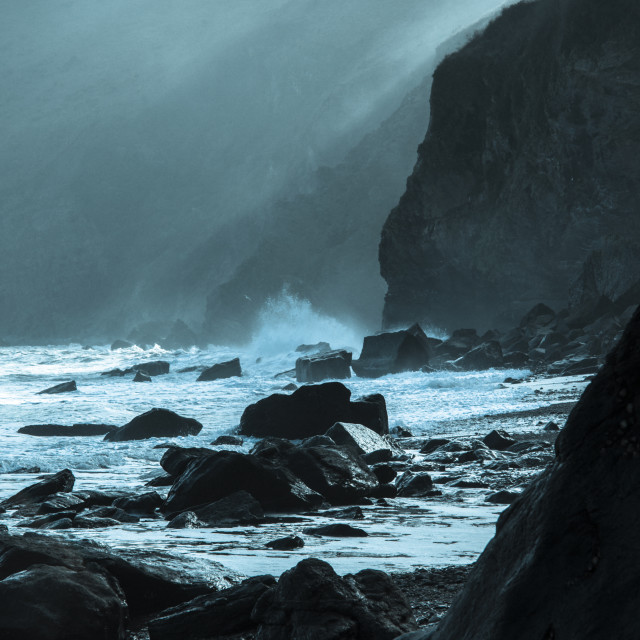 """""""Restless sea at Lynmouth."""" stock image"""