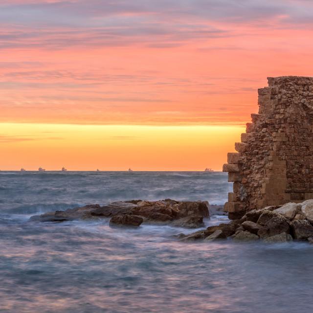 """Remains of Crusader harbor."" stock image"