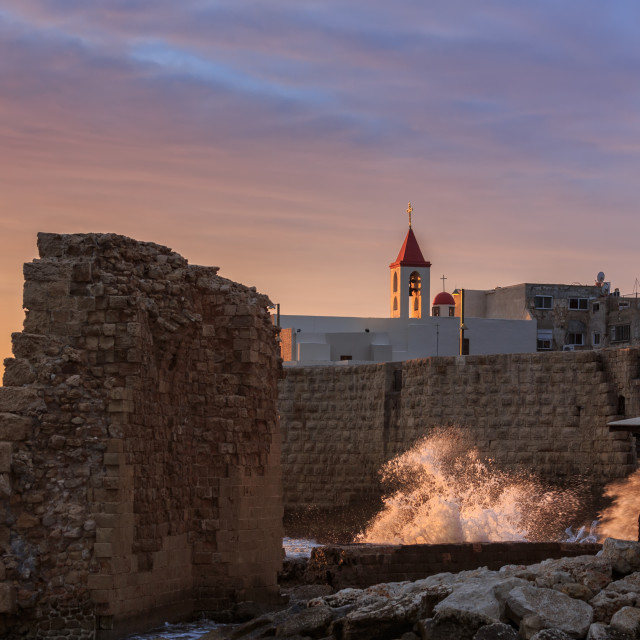 """Greek orthodox church Akko and ruins"" stock image"