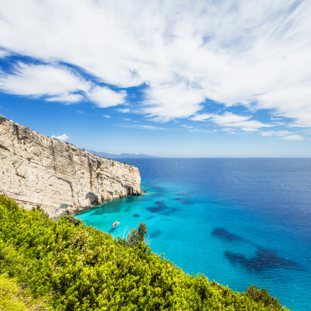 """""""Blue caves on Zakynthos island, as seen from the Skinari belvedere"""" stock image"""