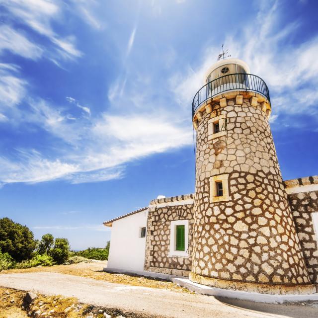 """""""Skinari Lighthouse on Zakynthos island, Greece"""" stock image"""