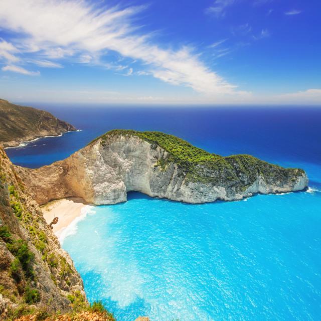 """Navagio beach on Zakynthos island, Greece"" stock image"