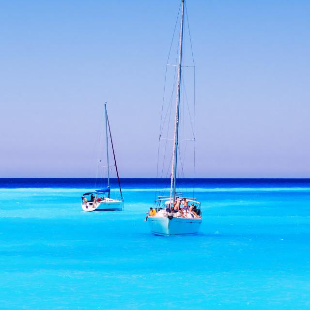 """Sailboats full of tourists anchored at Navagio beach, Zakynthos island,..."" stock image"