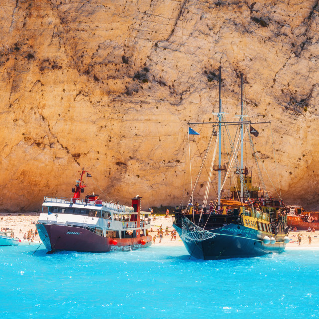 """Cruise ships full of tourists anchored at Navagio beach, Zakynthos island,..."" stock image"