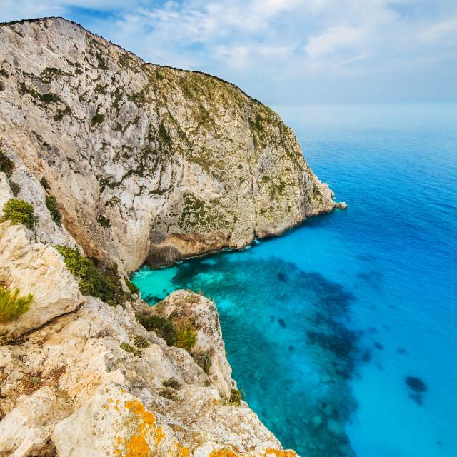"""The rocky shore of Zakynthos island, Greece"" stock image"