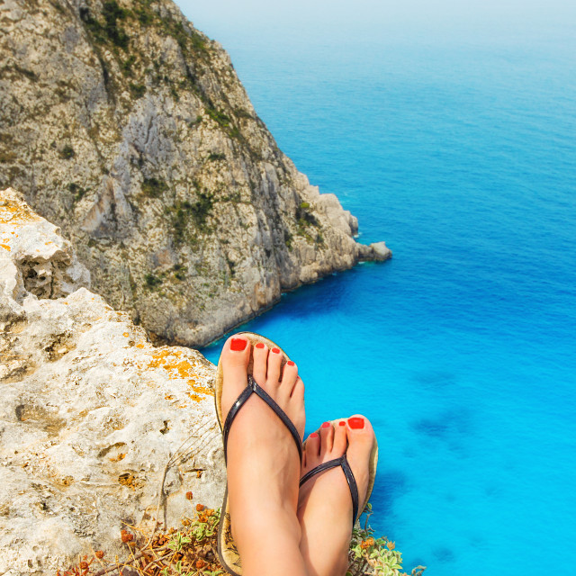 """A tourist enjoying the view on Zakynthos island, Greece"" stock image"