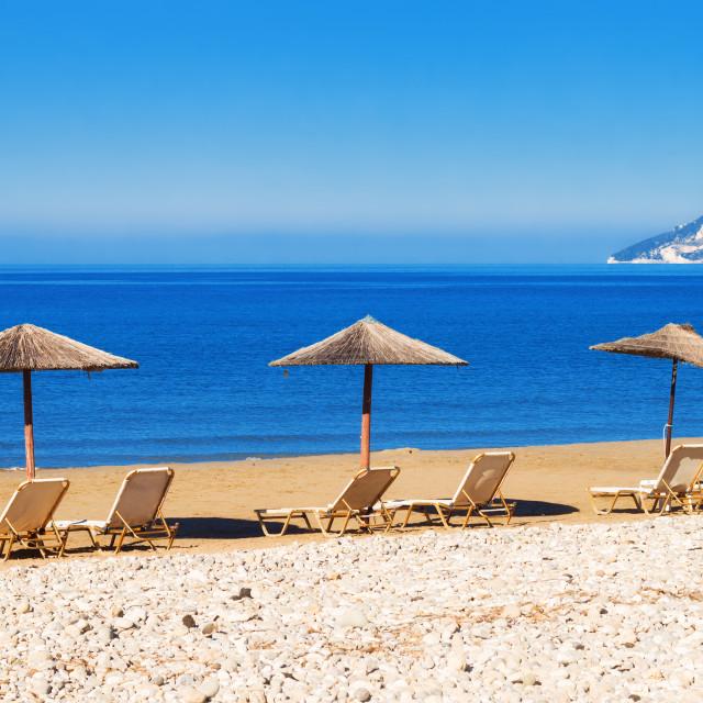 """Gerakas beach (protected Caretta Caretta turtle nesting site) on Zakynthos..."" stock image"