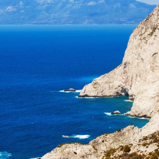 """The cliffs surrounding Navagio beach on Zakynthos island, Greece"" stock image"