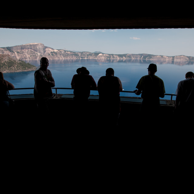 """""""Looking out over Crater Lake"""" stock image"""