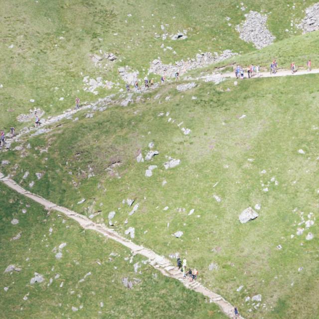 """""""Walkers climb Ben Nevis"""" stock image"""