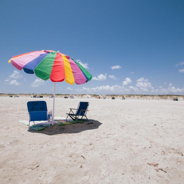 """Parasol on Texas Beach"" stock image"