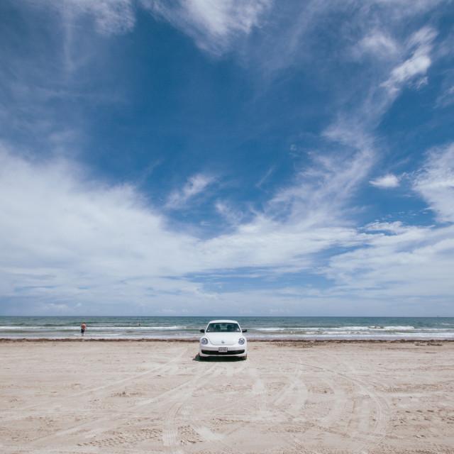 """""""VW Beetle on beach"""" stock image"""