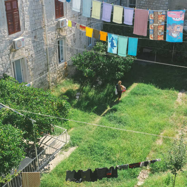 """Washing line Dubrovnik"" stock image"