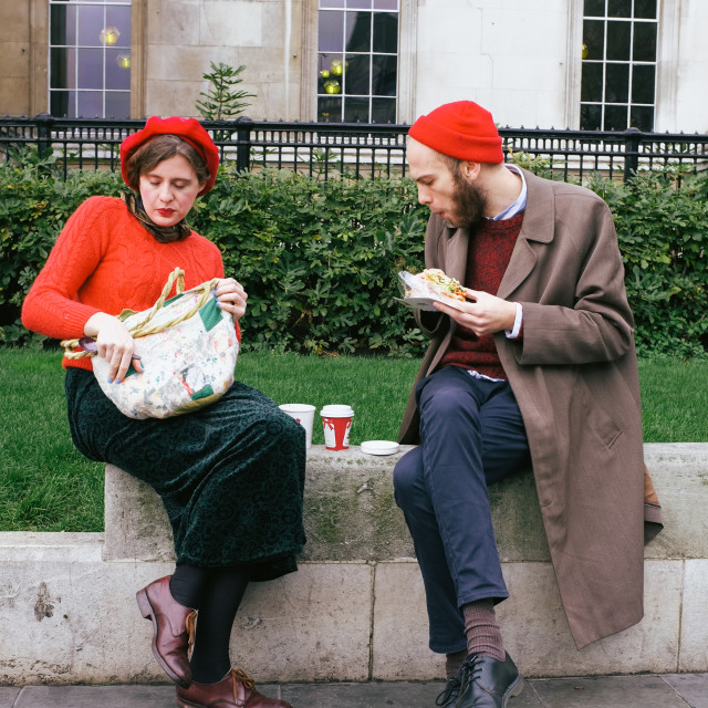 """""""Matching red hats"""" stock image"""