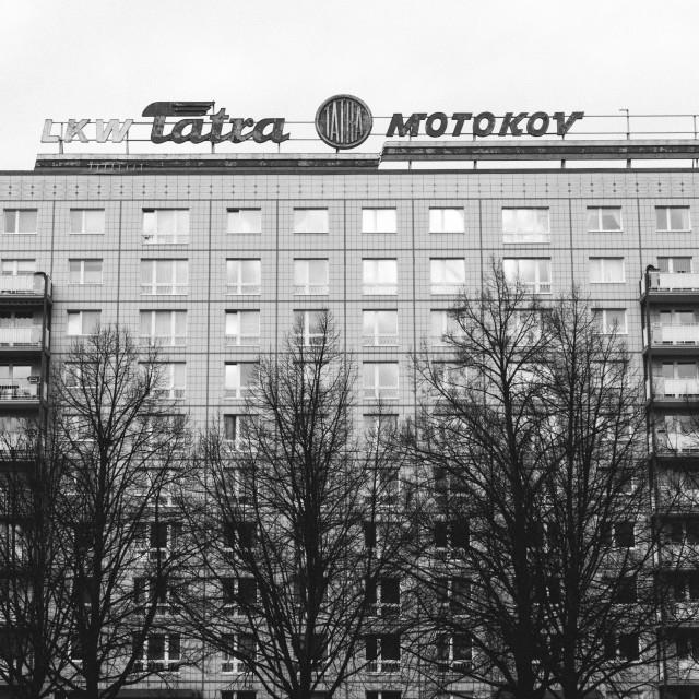 """Tatra Sign above apartments"" stock image"