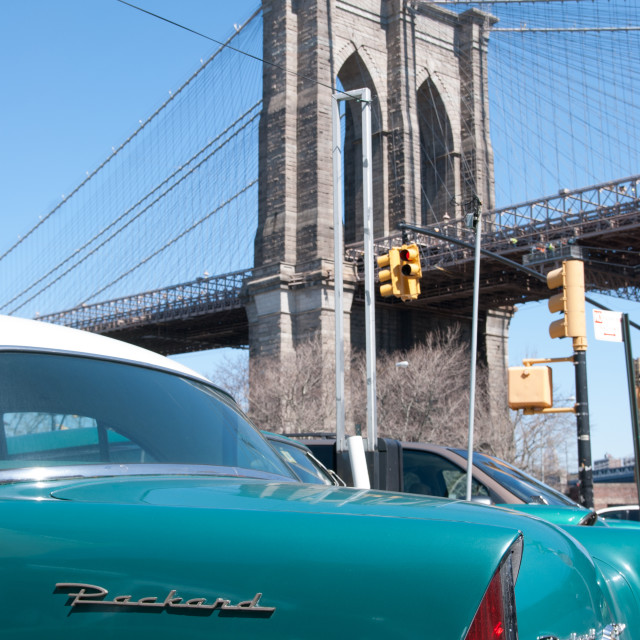 """""""Classic car Brooklyn Bridge"""" stock image"""