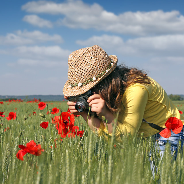 """""""little girl with camera on meadow"""" stock image"""