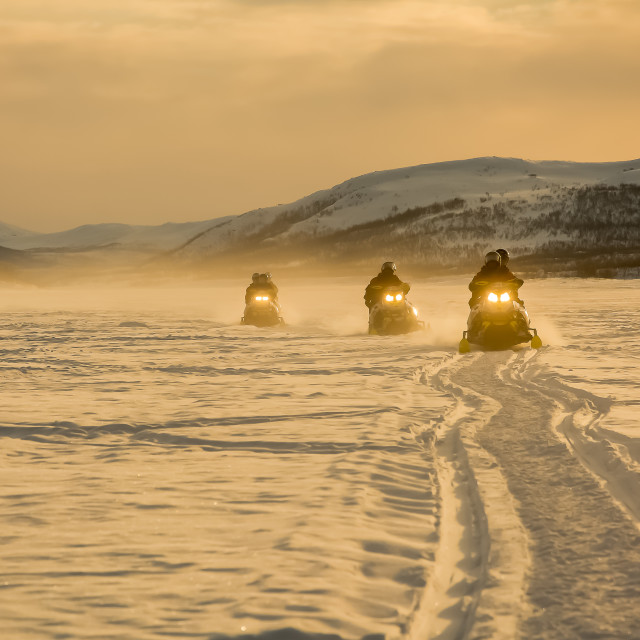 """Snowmobiles in sunset"" stock image"